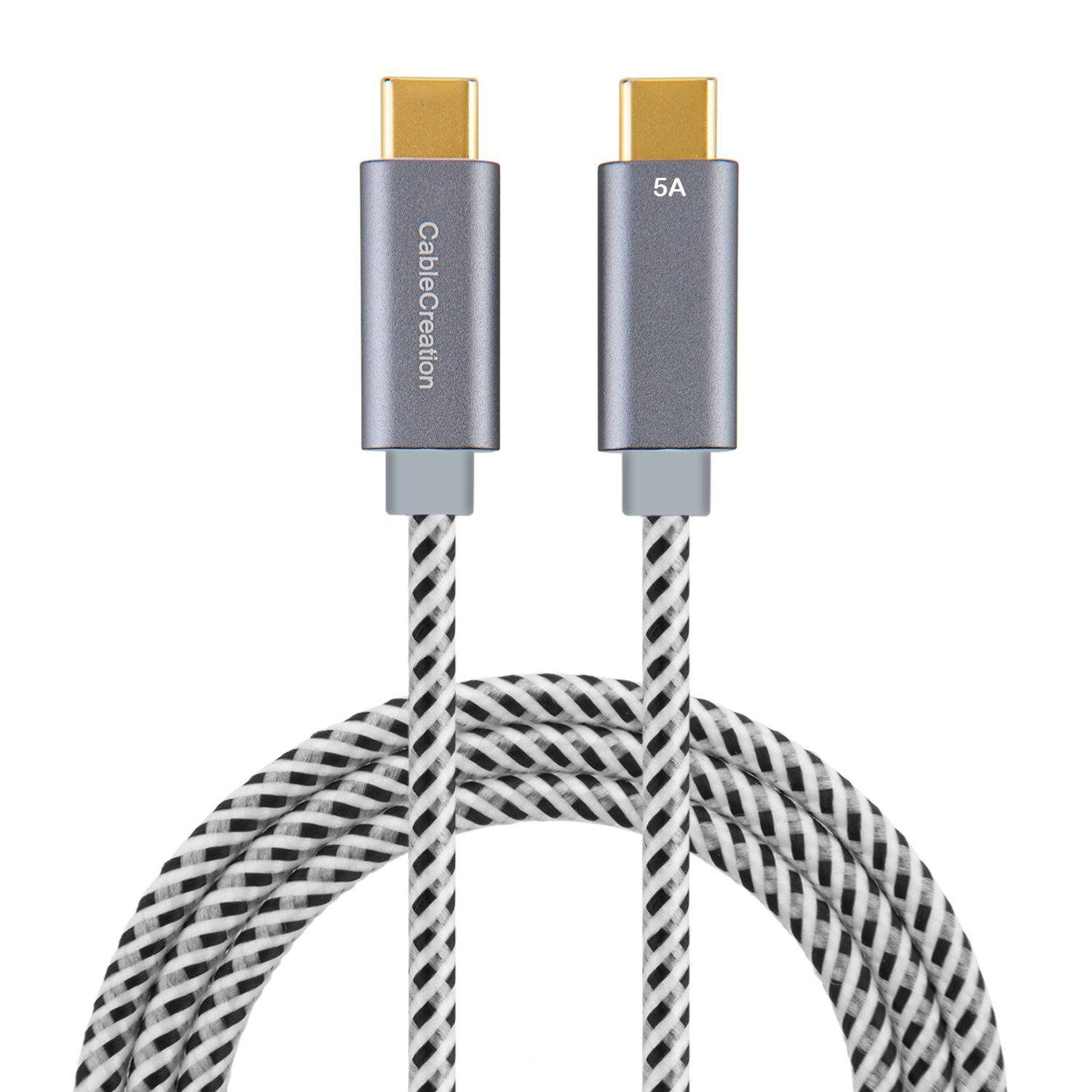 USB Type C Cable (5A), CableCreation 6ft USB-C to USB-C Cord, Support 100W Power Delivery, Fast Charge Cable compatible with Macbook Pro 15-inch,Pixel XL 2, 1.8M/Space Gray