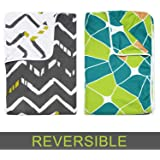 Divine Casa Reversible Striped and Geometric Single Dohar/AC Blanket Set of 2-Grey and Green