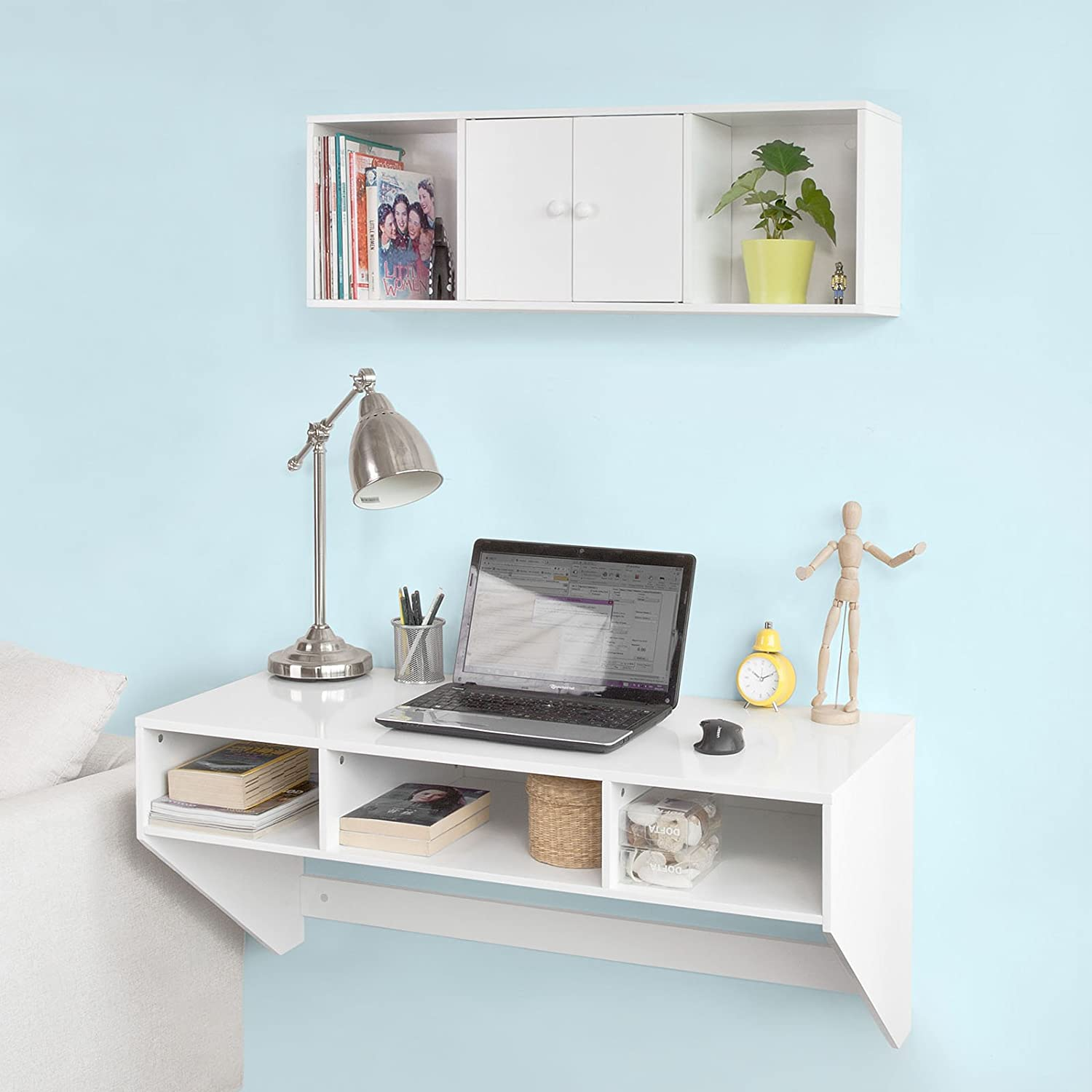 Amazon haotian wall mounted table deskhome office desk amazon haotian wall mounted table deskhome office desk workstationfloating desk with storagefwt14 wwhite kitchen dining amipublicfo Choice Image