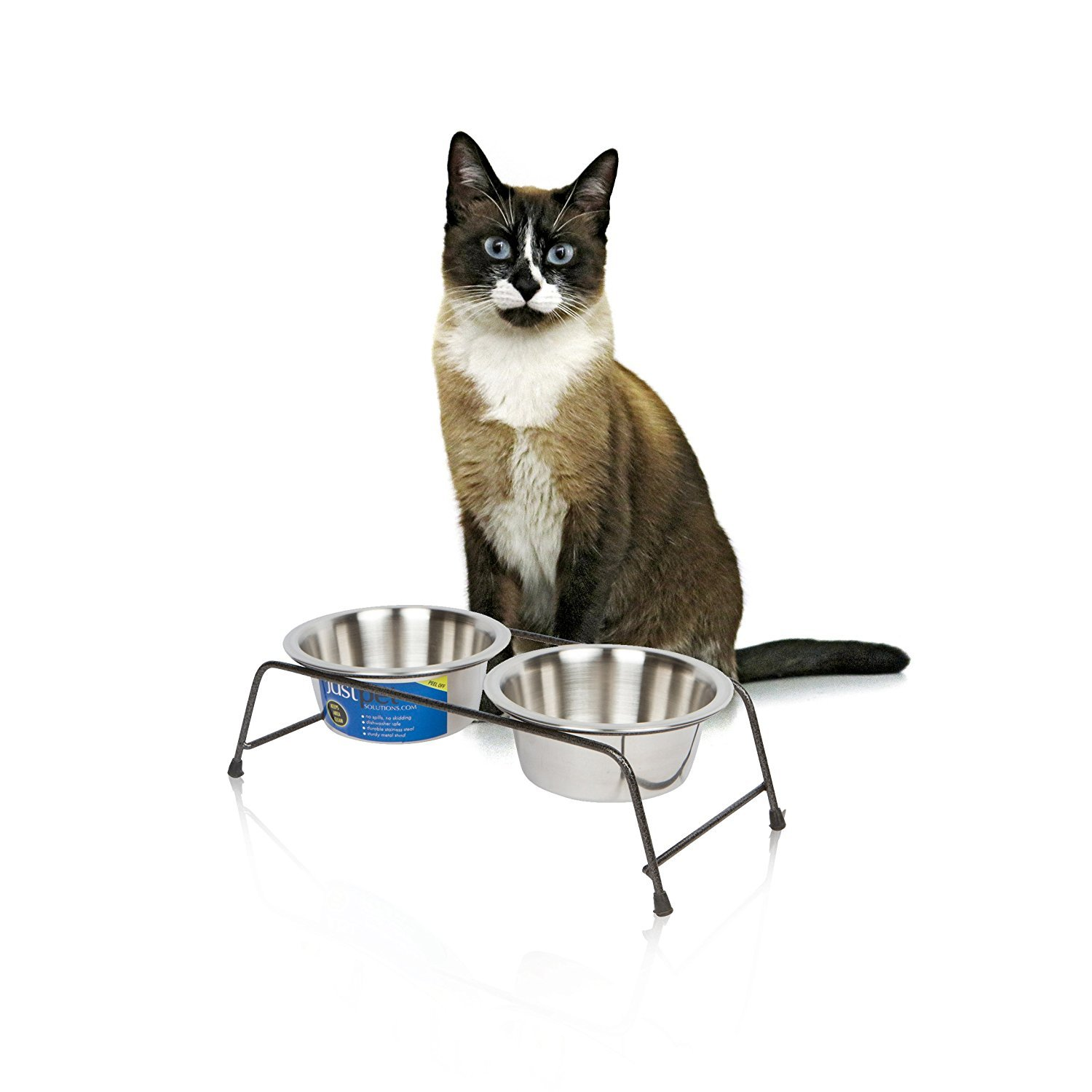 Cat Bowl For Food & Water With Elevated Stand - Cat Diner Stainless Steel Set...