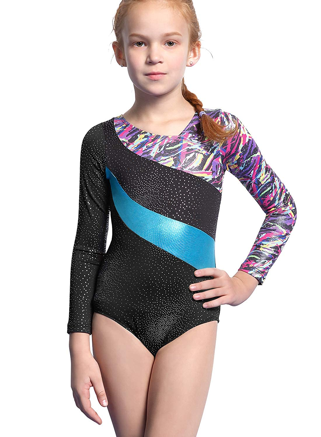 9b494afefdb1 Amazon.com: Gymnastics Leotards for Girls Long Sleeve Colorful Ribbons Pink  Leopard Stripe: Sports & Outdoors