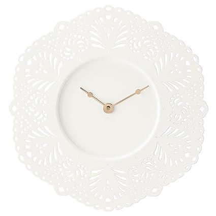 Ikea Reloj de pared Skurar metal blanco cuarzo