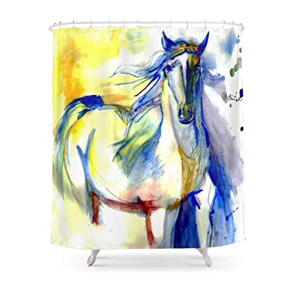 Society6 Watercolor Mustang Shower Curtain 71quot