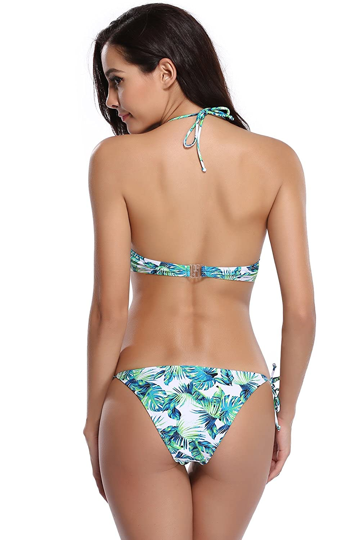 SHEKINI Mujeres Tropical Floral Impresión Tie Side Nadar ...