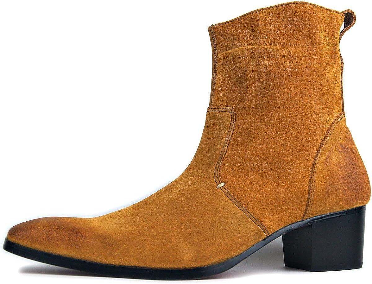 Botas de Hombre Botas de tacón Alto Zapatos de Vestir de Hombre Botas con Cremallera OZ-JY002