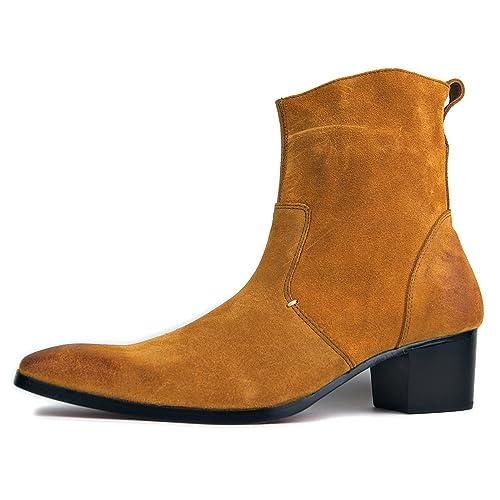 Botas de Hombre Botas de tacón Alto Zapatos de Vestir de Hombre Botas con Cremallera  OZ-JY002  Amazon.es  Zapatos y complementos e7e04f7bcdb