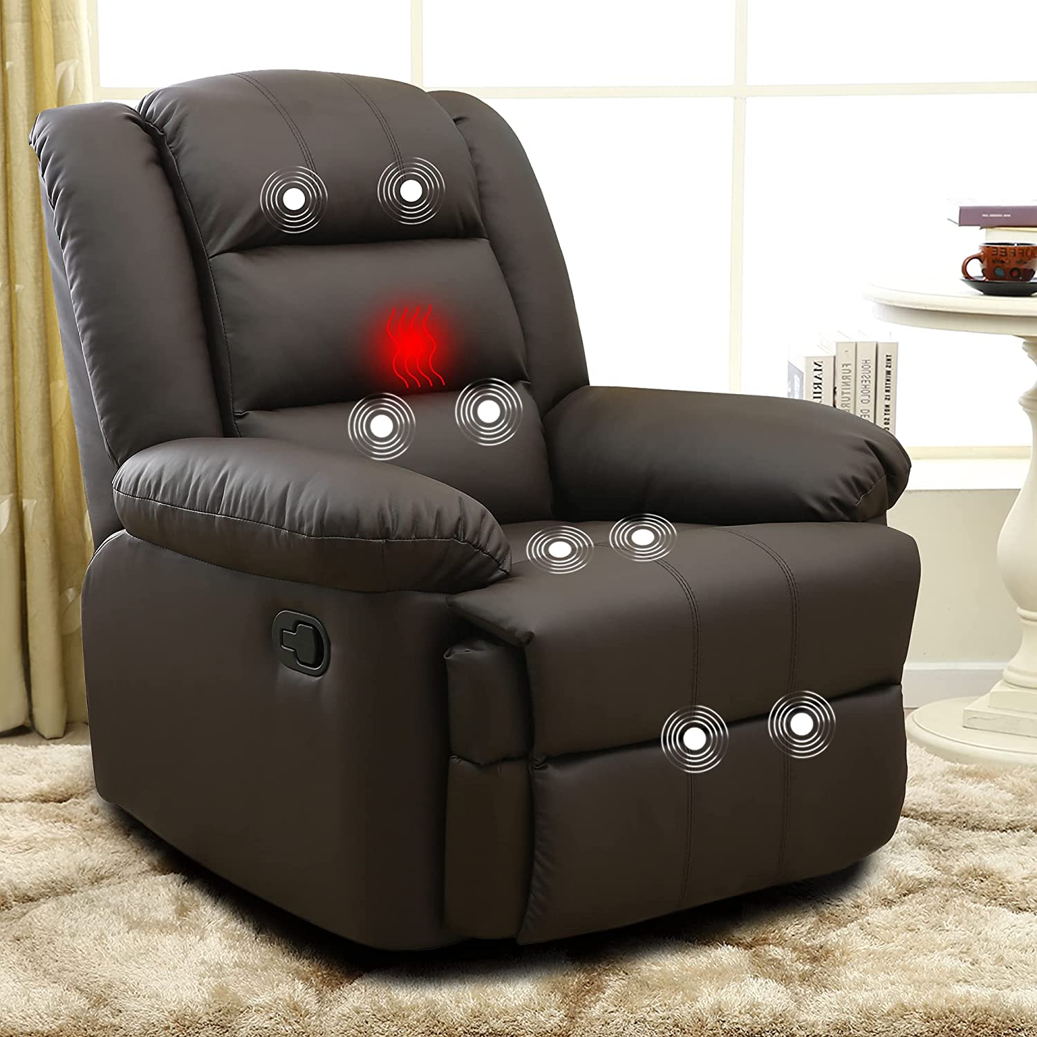 XRHOM Recliner Chair Reading Massage Chair Heated PU Leather Ergonomic Reclining Chair Living Room Chairs Single Power Sofa Recliner Adjustable Modern Home Theater Seating Padded Seat Backrest,Brown