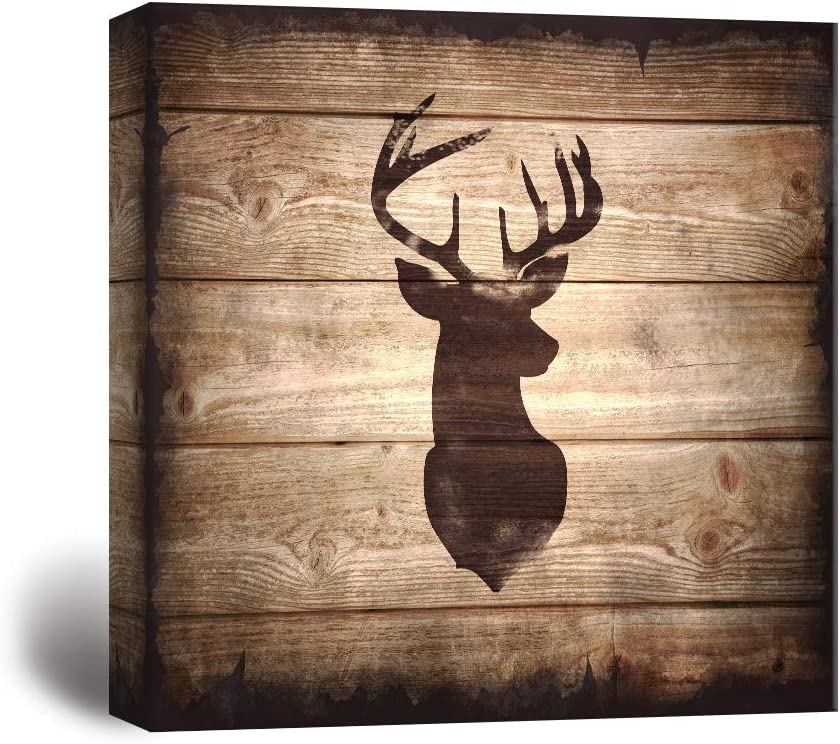 wall26 - Square Canvas Wall Art - Deer with Antler Silhouette on Rustic Wood Board Texture Background - Giclee Print Gallery Wrap Modern Home Art Ready to Hang - 12x12 inches