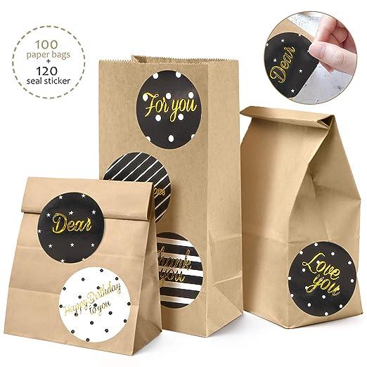 100 Bolsas de Papel Kraft Marrón Con 120 Redondas Pegatinas, 9 x 18 x 5.5cm DIY Mini Bolsa para Regalos Ideal para Bodas, Cumpleaños o Fiestas de ...