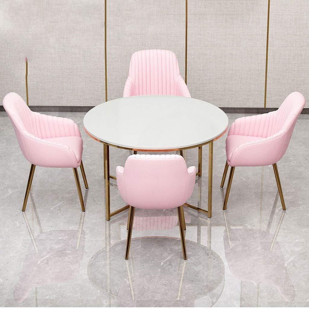 HEJINXL Matstolar, mjuk kristall sammet kudde säte och rygg galvaniserat stål halkfria fötter lämpliga för modern minimalistisk terrass hem dator kontorsstol (färg: E) a