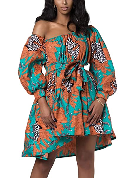e06974f762ae0 HUHHRRY Women's Dashiki African Vintage 1950s Floral Printed V Neck  Sleeveless Skirt Casual Evening Party Swing Bandage Dress