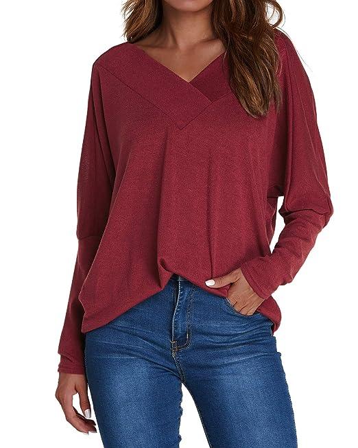 ACHIOOWA Donna Magliette Manica Lunga Maglie Collo V Nuovo Moda T-Shirt  Bluse Elegante Casual Top Basic  Amazon.it  Abbigliamento 6f955291dd3