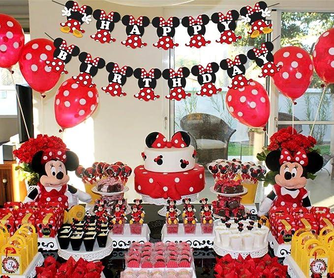 JOYMEMO Fiesta de cumpleaños de Minnie Mouse Rojo y Negro para ...