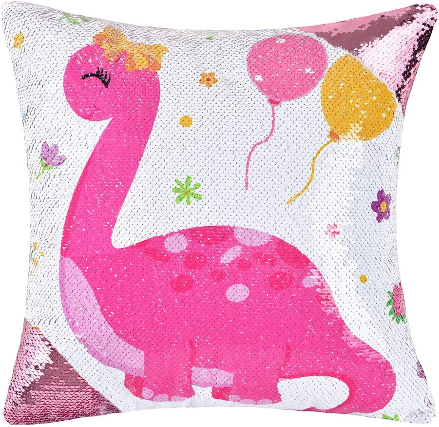 "WERNNSAI Sequins Pillow Cover - 16"" × 16"" Pink Cushion Covers Dinosaur Birthday Xmas Gift Christmas Decorations Throw Pillow Cases for Sofa Couch Bed Car(NO Pillow Inserts)"