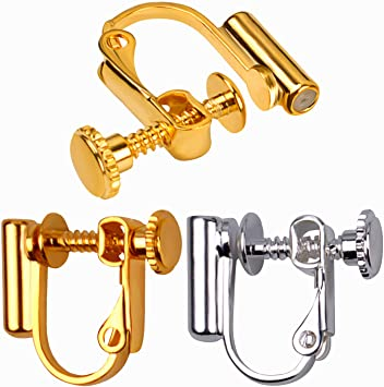 Earring Pierce Post Stud Back Adjust Lock Gold Findings 12 pc DIY Jewelry Making