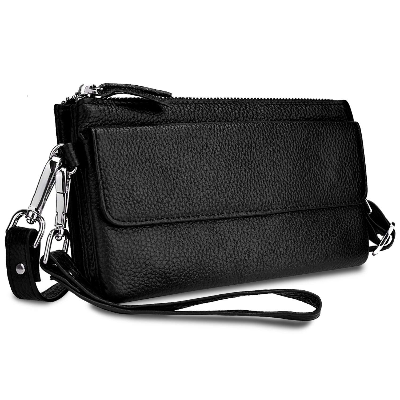 YALUXE Women's Leather Smartphone Wristlet Crossbody Clutch with RFID Blocking Card Slots Black by YALUXE