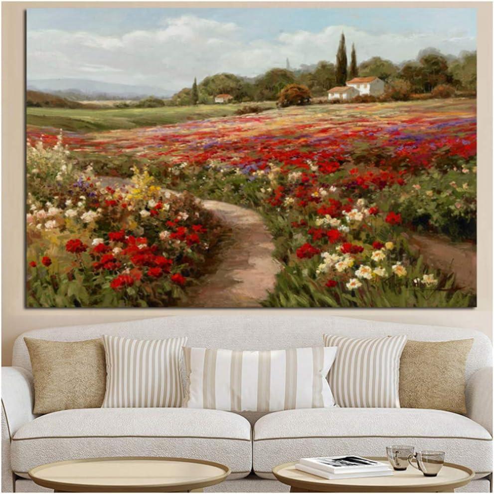 yhyxll Claude Monet Álamos Campos de Amapolas Paisaje impresionista Pintura al óleo sobre Lienzo Carteles e Impresiones Cuadro de Pared para Sala de estar-60x100cm Sin Marco