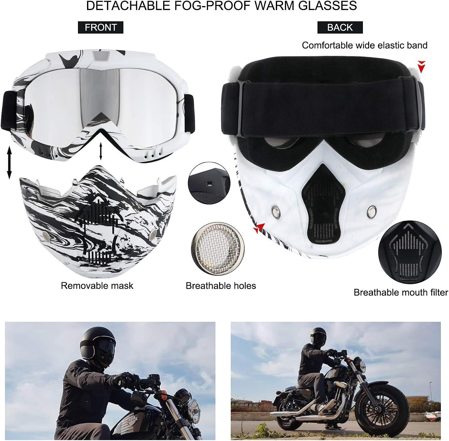 Gafas de equitación para casco de motocicleta, con máscara facial ...
