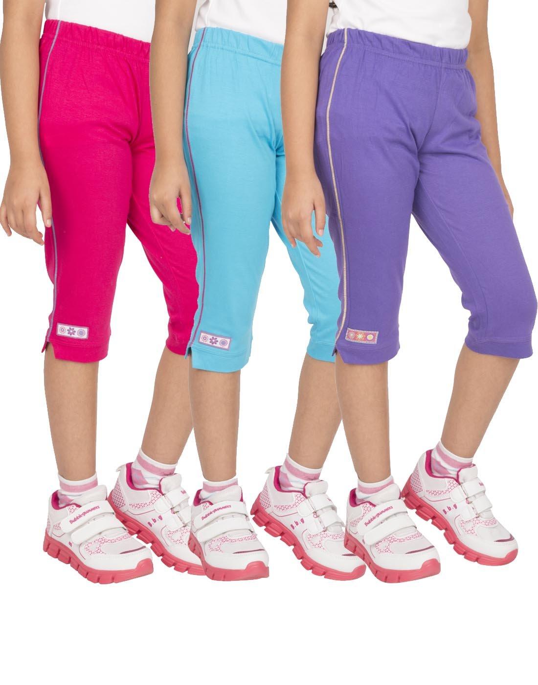 OCEAN RACE Girls attarctive Colors Cotton Capris(3/4 Th Pant)-Pack of 3 product image