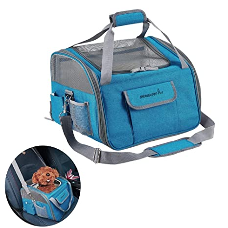 Decoroom Pet Car Seat Carrier Dog Cat Lookout Booster Seat Soft-Sided Foldable Puppy Travel
