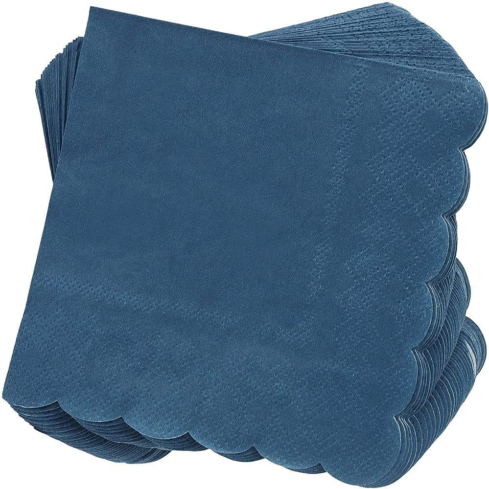 Scalloped Party Cocktail Napkins (5 x 5 In, Dark Blue, 100-Pack)