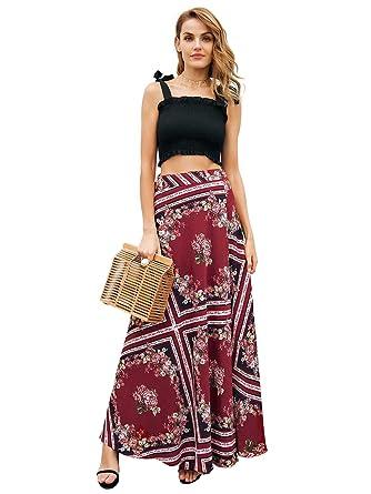 081b59fef7a Missy Chilli Women s Boho Floral Print High Waist Wap Maxi Skirt Summer  Beach Side Split Casual