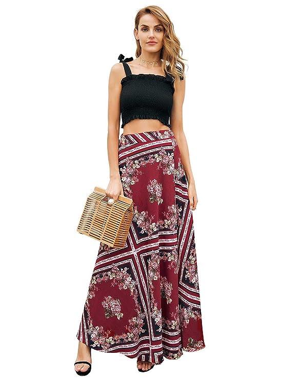 Simplee Apparel Women's Boho Floral Print High Waist Summer Beach Wrap Maxi Skirt Cover Up, Beige, 4/6, Small