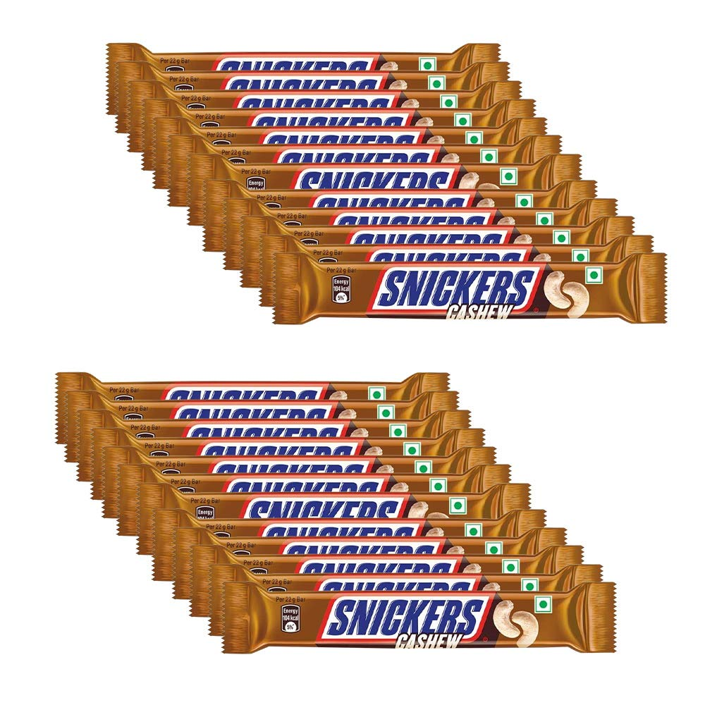 Snickers Cashew Filled Chocolates- 22g Bar (Pack of 24)