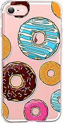 Girlscases® | iPhone 8/7 Hülle | Im Donut Muster Look mit bunten Donuts aus Silikon | Fashion Case transparente Schutzhülle