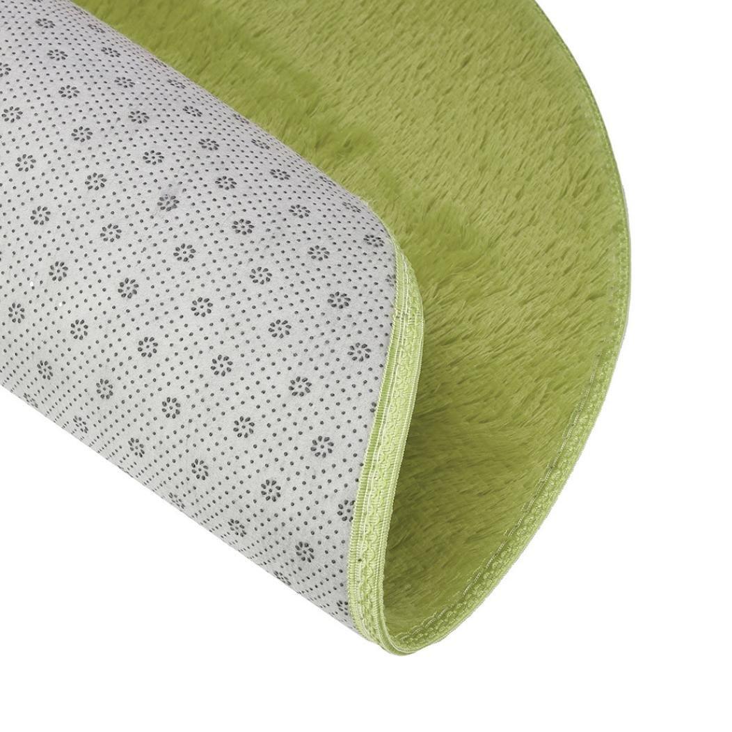 80x80cm Indexp Large Non Slip Shaggy Soft Area Rug Bedroom Floor Home Kitchen Bathroom Shower Cleaning Rug Kids Playard Doormat Fluffy Coral Velvet Carpet Grass Green, Round