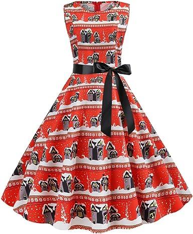 Patrón Navidad De Las Mujeres Falda De Vestido Vintage A Rayas ...
