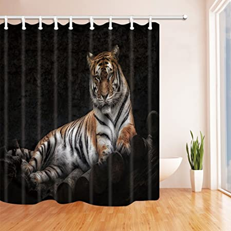 KOTOM Wildlife Animal Nature Shower Curtains For Bathroom Wild Animals Tiger On Wooden Polyester