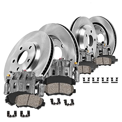 CCK01716 FRONT + REAR OE [4] Remanufactured Calipers + [4] Rotors + Quiet Low Dust [8] Ceramic Pads Premium Kit: Automotive