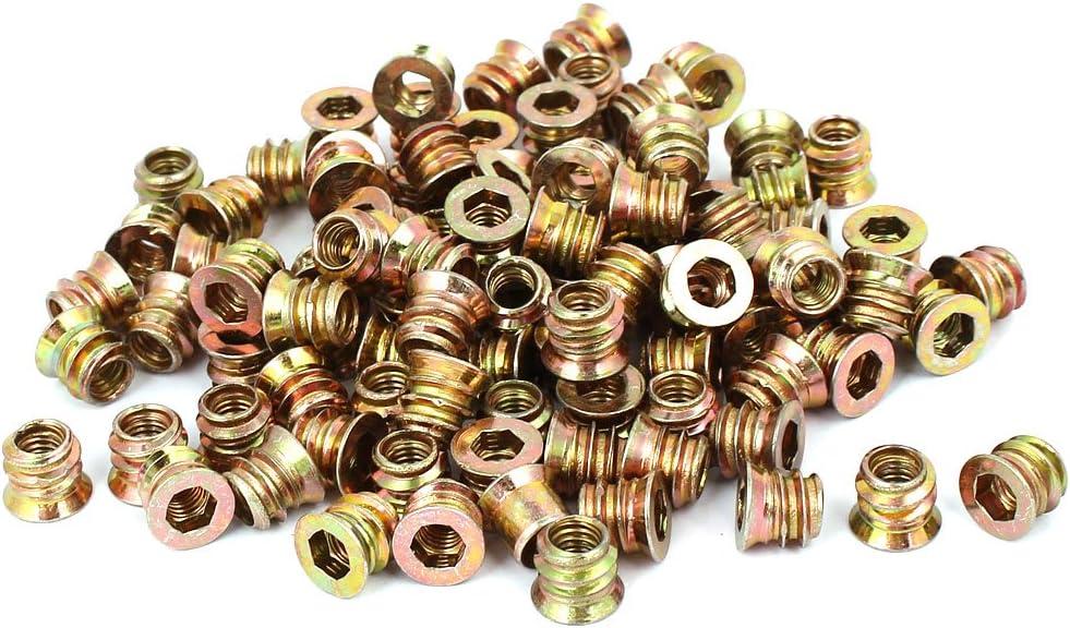 uxcell M6 x 10mm Furniture Hex Key Type E-Nut Wood Insert Interface Screws Nuts 100pcs