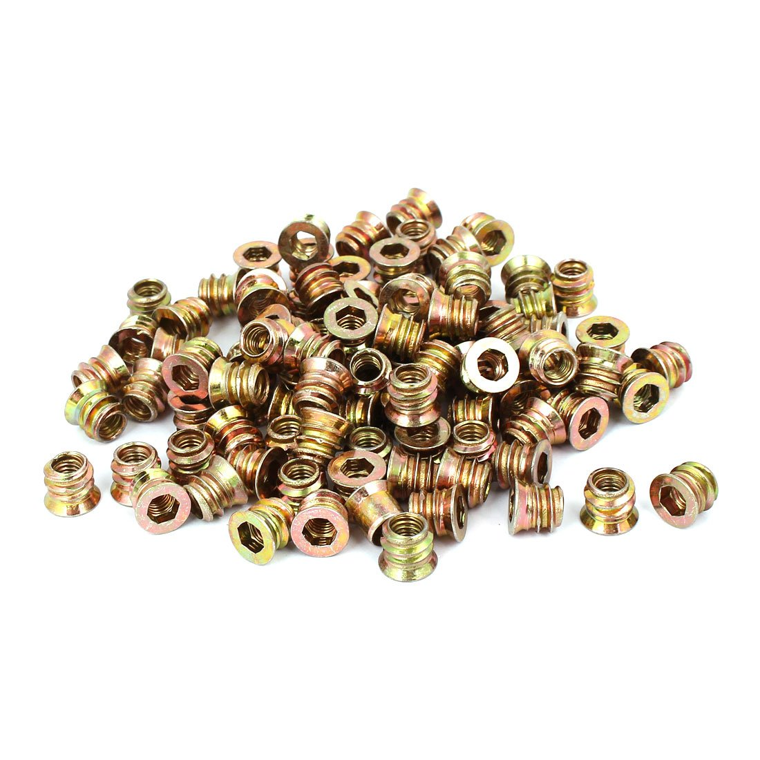 uxcell M6 x 10mm Furniture Hex Key Type E-Nut Wood Insert Interface Screws Nuts 100pcs by uxcell