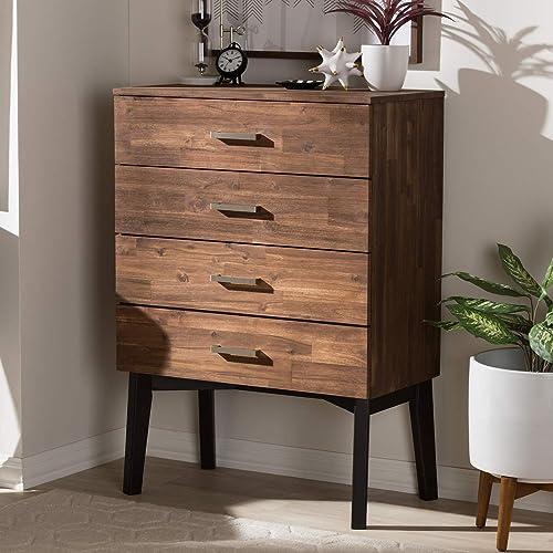 Baxton Studio Selena Mid-Century Modern Brown Wood 4-Drawer Chest/Mid-Century/Brown/Medium Wood/Acacia Wood/Rubber Wood/Metal