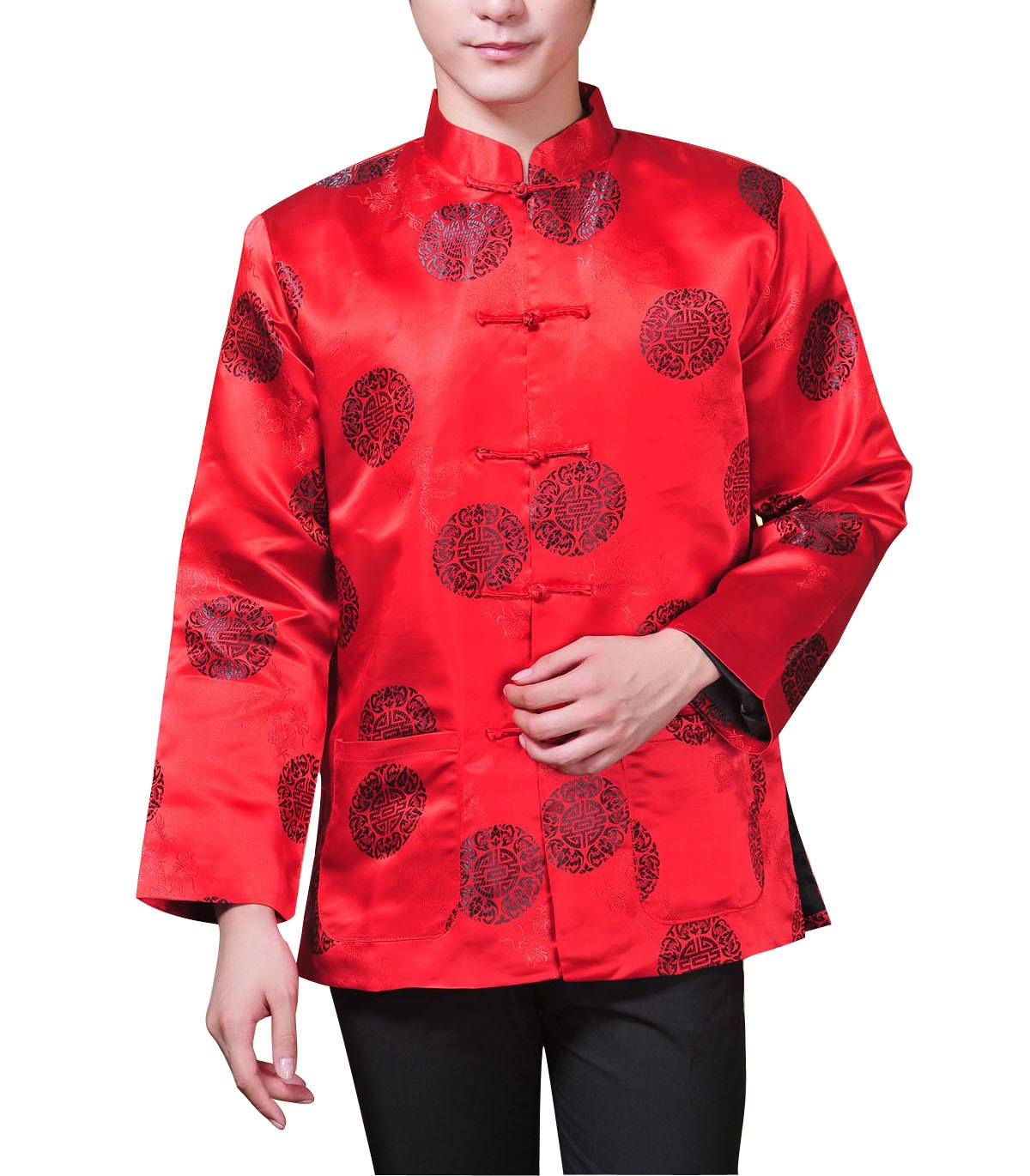 ACVIP Men's Lucky Coin and Dragon Brocade Long Sleeve Chinese Kung Fu Tang Jacket Shirt (US S / Chinese L, Red)
