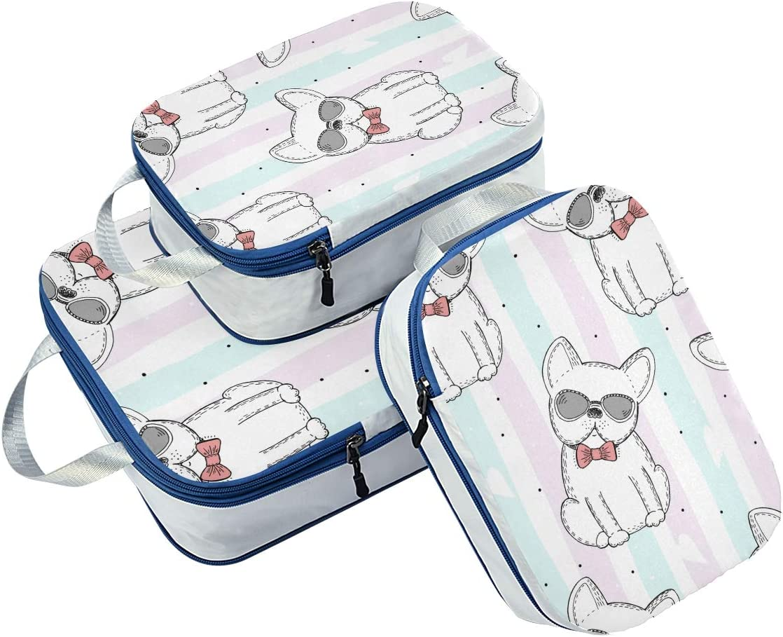 Cute Dog 3 Set Packing Cubes,2 Various Sizes Travel Luggage Packing Organizers q