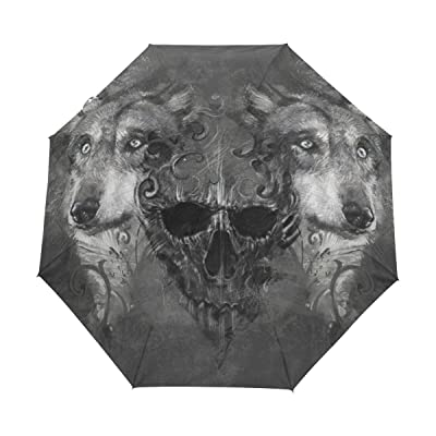 LAVOVO Scary Wolf Skull Pattern Umbrella Double Sided Canopy Auto Open Close Foldable Travel Rain Umbrellas