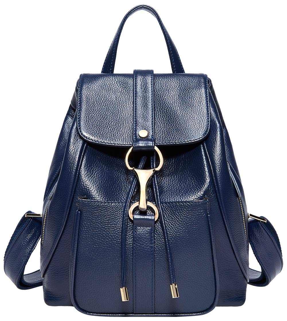 BOYATU Real Leather Backpacks Purse for Women Ladies Fashion Travel Shoulder Bag (Royal Blue)