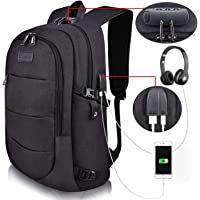 Tzowla Business Water Resistant Anti-Theft with USB Charging Port and Lock 15.6 Inch Computer Backpacks (A-Black)