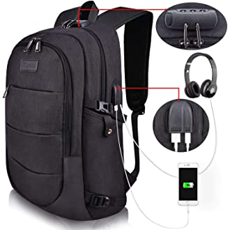 #13 Tzowla Business Laptop Backpack Water Resistant Anti-Theft College Backpack with USB Charging Port and