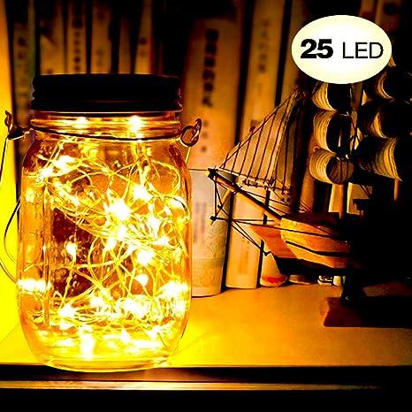 Brisun - Guirnalda de luces solares para jardín, 25 luces LED, impermeable, luz decorativa para jardín, patio, boda, fiesta, árbol de Navidad, etc. (blanco cálido): Amazon.es: Iluminación
