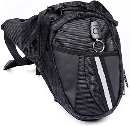 Black LOUQING Leg Bag Canvas Tactical Thigh Multi-Pocket Utility Pouch Waist Pack Outdoor Cycling Hiking Travel Tactical Waist Pack