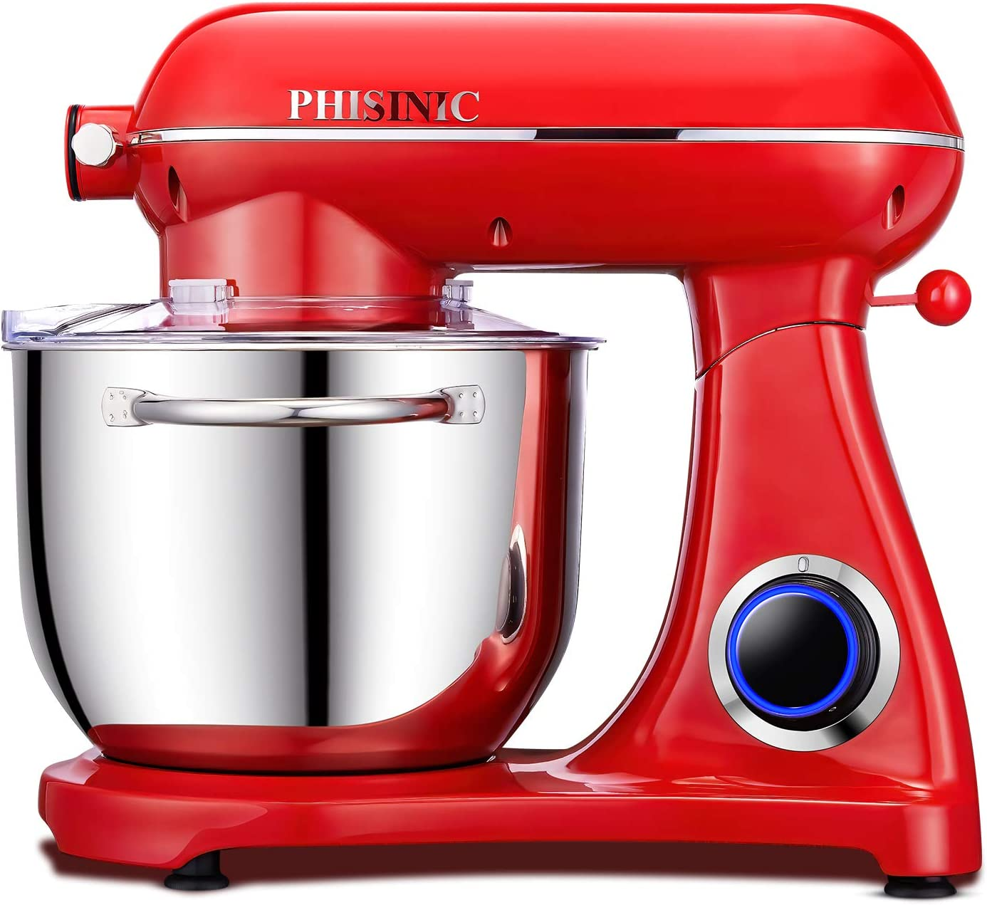 PHISINIC Stand Mixer, 6.5-QT 800W 6-Speed Tilt-Head Food Mixer, Kitchen Electric Mixer with Power Hub for Attachment (Red)
