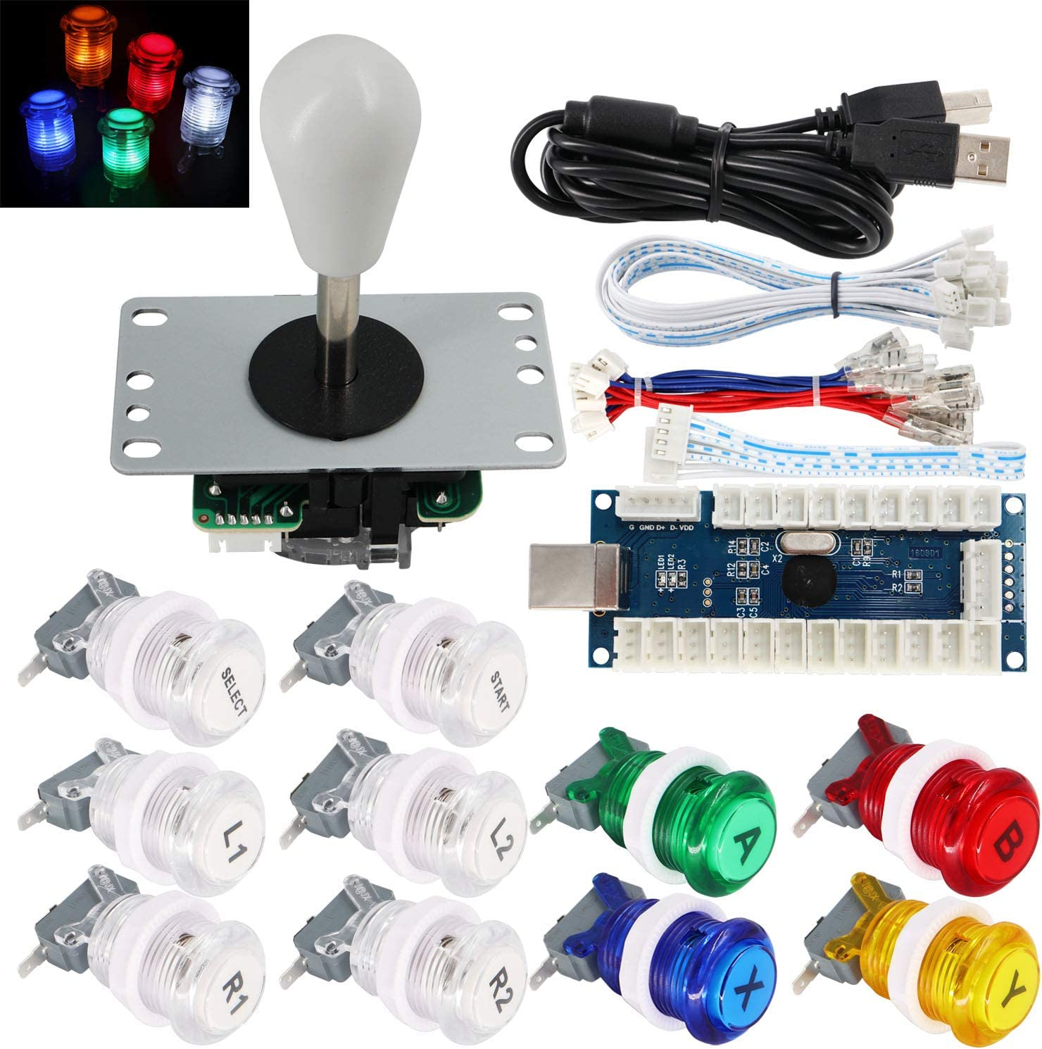 SJ@JX Arcade Game Stick DIY Kit Buttons with Logo LED 8 Way Joystick USB Encoder Cable Controller for PC MAME Raspberry Pi Color Mix