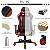 AuAg Ergonomic Gaming Chair Racing Style Adjustable High-Back PU Leather Office Chair Computer Desk Chair Executive Ergonomic Style Swivel Video Chair Headrest Lumbar Support