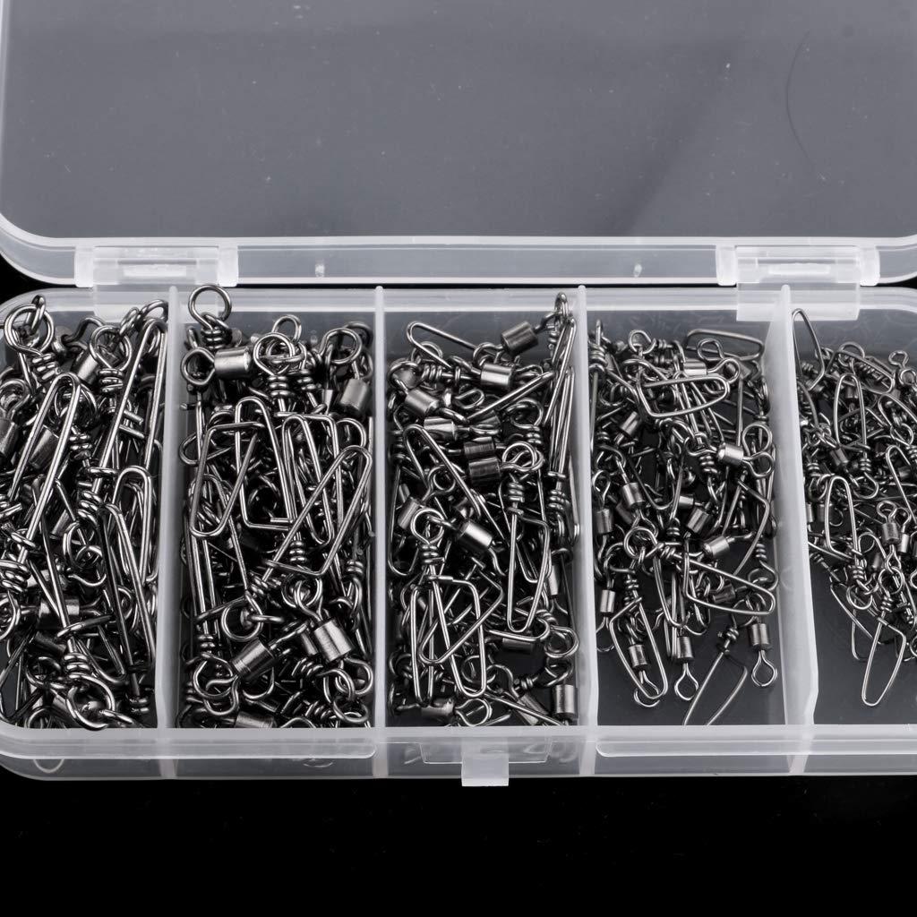 Homyl 150 St/ücke Angelwirbel mit Sicherheits-Druckkonpf Mit Angelger/ät-Box