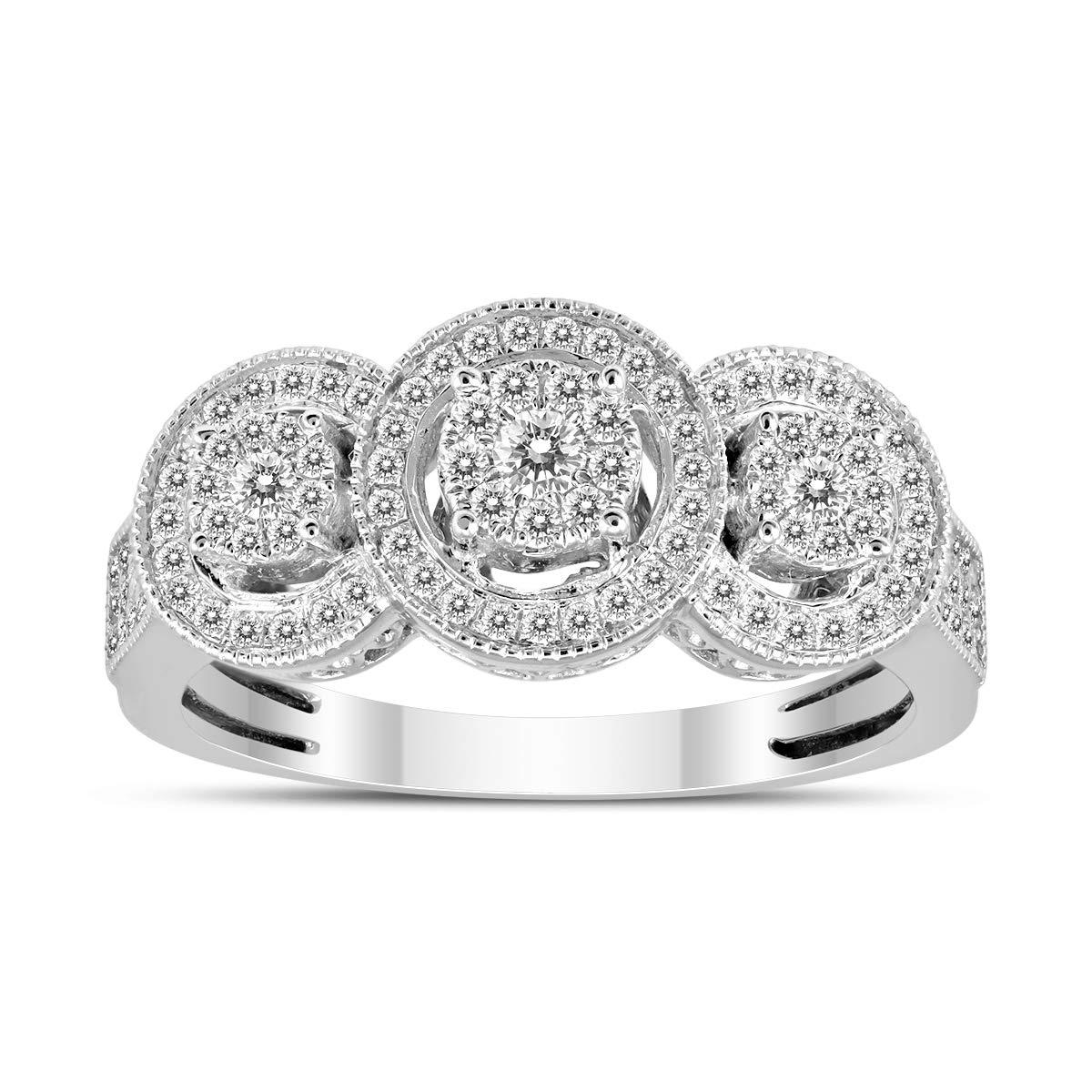 1/2 Carat TW Three Stone Halo Cluster Diamond Ring in 14K White Gold by Szul (Image #1)