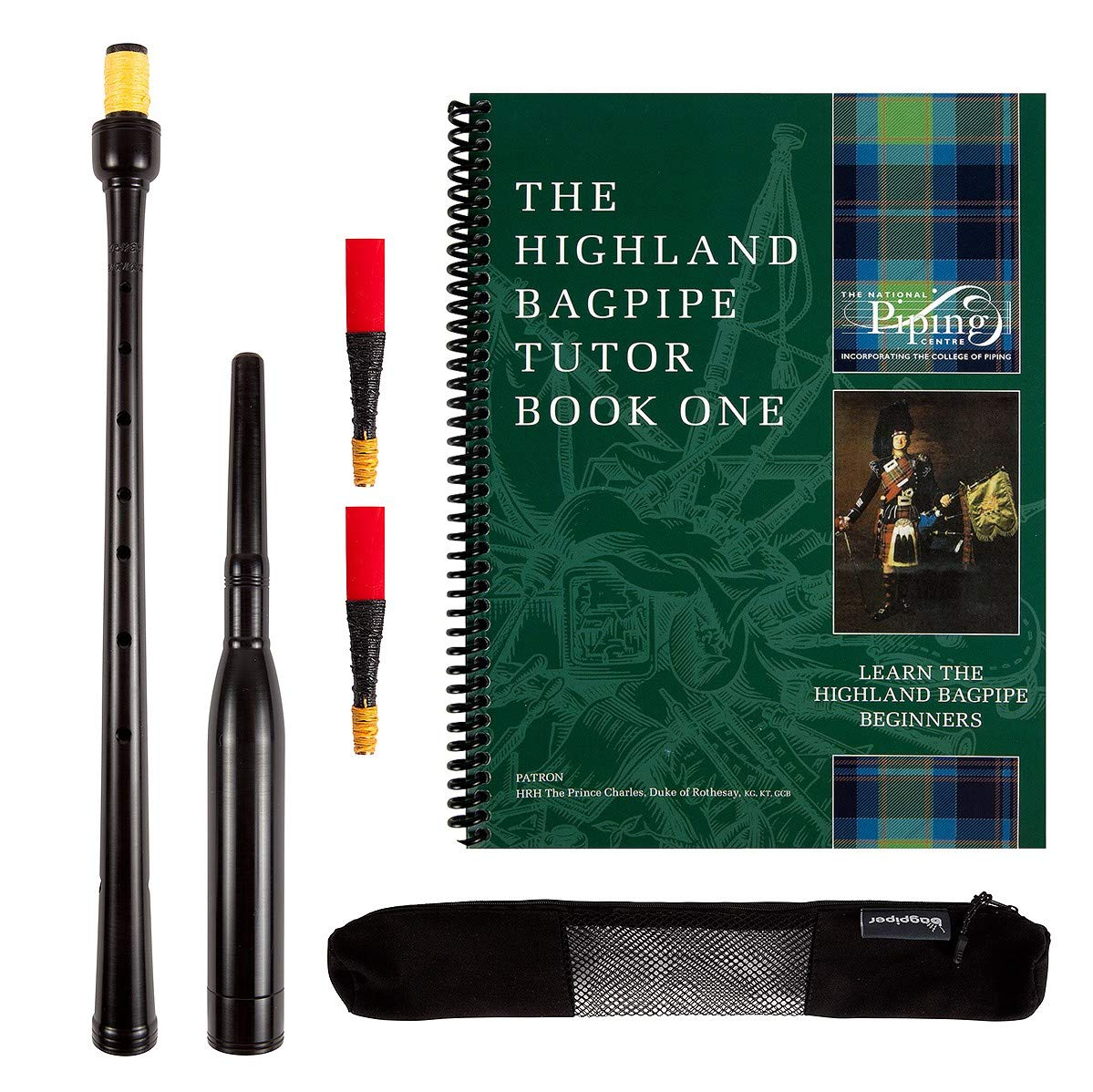 Frazer Warnock 21 inch Long Bagpipe Practice Chanter,The National Piping Center of Scotland Tutor Book, with 2 Quality Reeds, Breathable Case